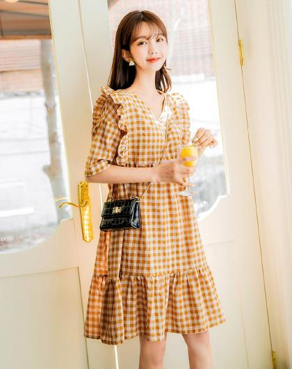 韩版女装夏装韩版气质黄色格子宽松连衣裙