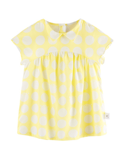 太平鸟童装2020夏季女童幼童黄色圆点洋气连衣裙