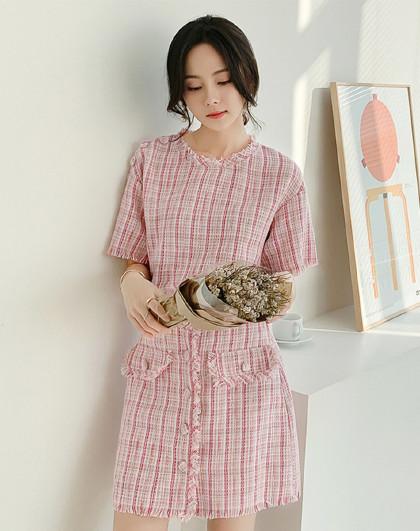 夏韩版女款甜美小香风短袖+短裙套