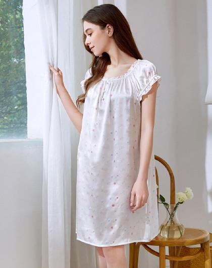 MEIBIAO 美标100%桑蚕丝春性感睡衣丝绸薄款家居服真丝短袖睡裙女夏