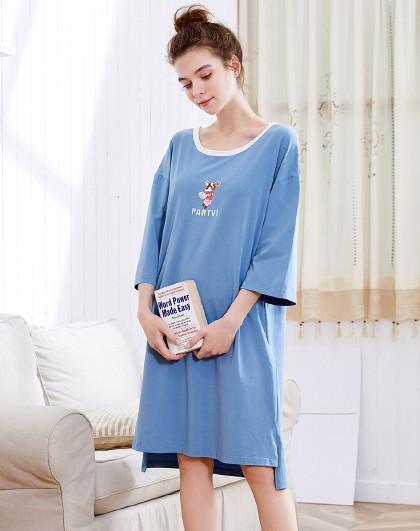 MEIBIAO 美标新款短袖薄款睡衣甜美可爱卡通全棉质家居服纯棉睡裙女夏