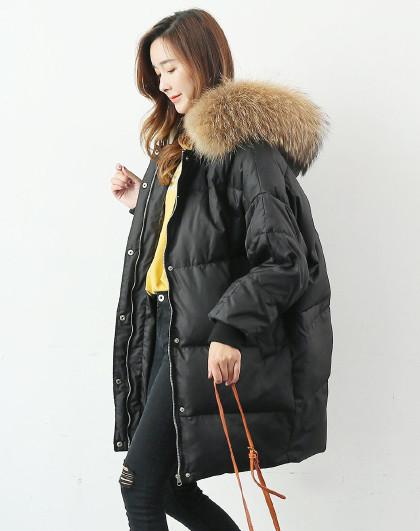 【貉子毛领】加厚保暖羽绒外套冬季新款中长款韩版宽松女式羽绒服