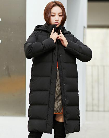 【90鸭绒】20年冬季新款女装时尚连帽可脱卸中长款羽绒服女