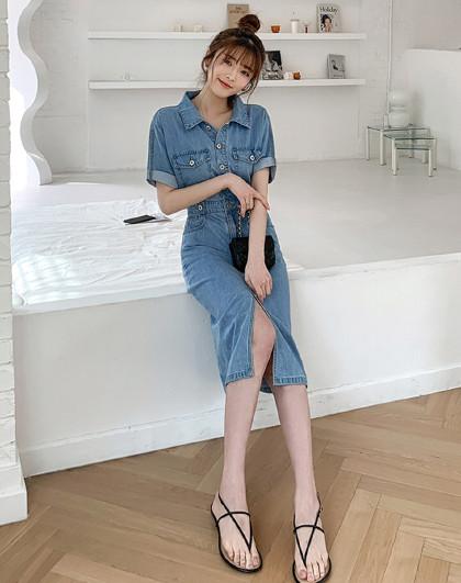 夏韩版女款个性露背高腰牛仔中长连衣裙