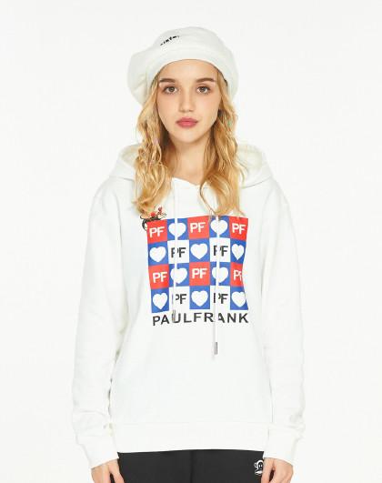 爆款热销女款连帽爱心logo字母印花长袖运动卫衣