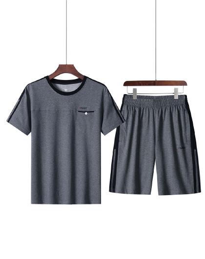 2021夏季新款运动套装男短袖透气运动服爸爸装中老年两件套