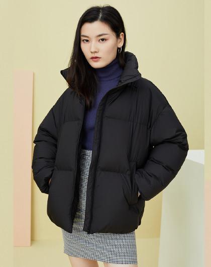 雪中飞羽绒服女2020秋冬新款保暖立领面包鹅绒短款羽绒服女外套