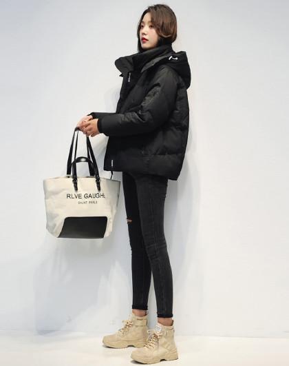 2020年冬季新款外套蓬松保暖连帽长袖休闲运动女式羽绒服