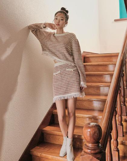 春季女装宽松复古格纹小个子显高时尚套装