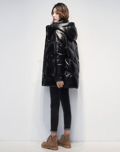 中长款立领面包服女2020新款冬季大口袋长袖保暖防寒羽绒服女