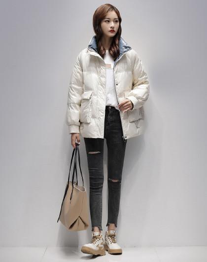 立领中长款面包服2020冬季新款宽松时尚外套白鸭绒羽绒服女