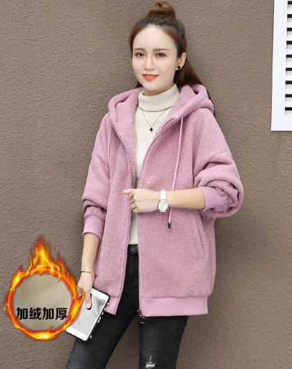 【加绒时尚保暖】 女款运动潮流时尚羊羔绒开衫连帽卫衣