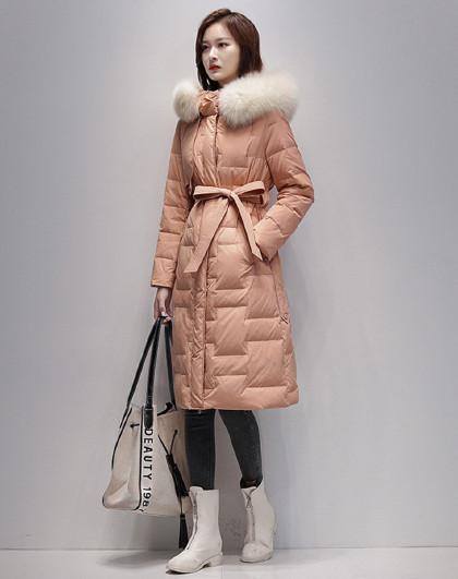 2020新款冬季时尚外套白鸭绒保暖系带收腰气质长款羽绒服女