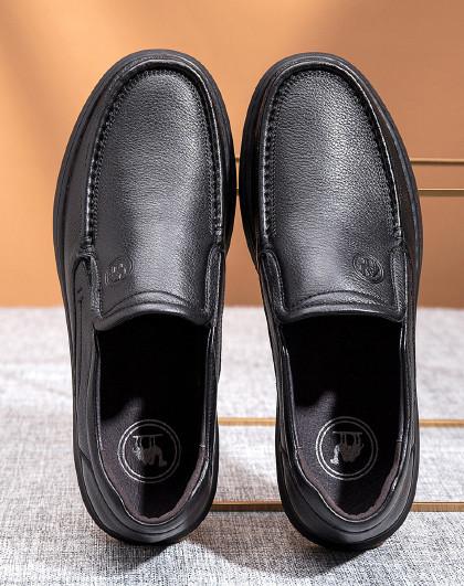 骆驼 2020新款休闲皮鞋舒适套脚牛皮革日常一脚蹬皮鞋男士休闲鞋