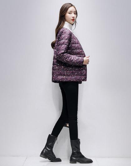 2020冬季新款简约保暖无领修身薄款印花内搭短款上衣羽绒服女