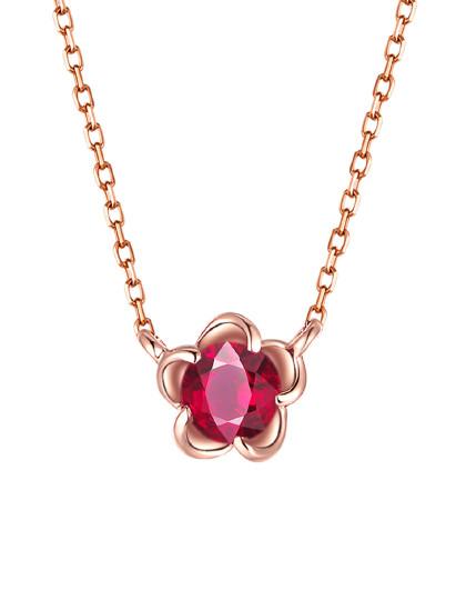【春季特卖】玫瑰18K金红宝石链牌彩宝项坠宝石项链