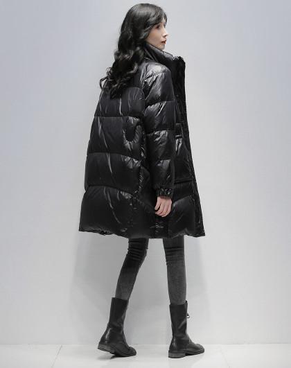 立领面包服2020冬季新款宽松显瘦羽绒外套纯色羽保暖绒服女