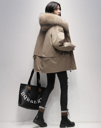 中长款连帽羽绒外套2020冬季新款韩版纯色90鸭绒暖羽绒服女