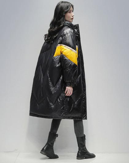 中长款时尚宽松羽绒服2020冬季新款防寒保暖撞色休闲羽绒服女
