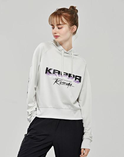 Kappa 卡帕kappa 舒适百搭 女款大logo套头连帽卫衣
