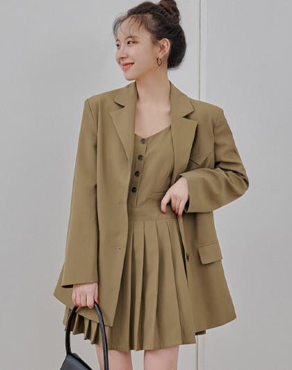 春款韩版女款休闲气质纯色吊带裙西装时尚套装
