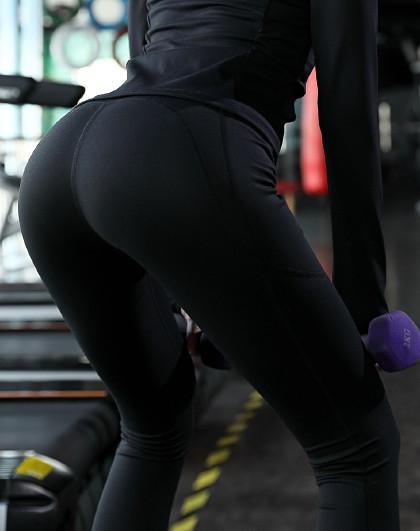 上新 女款瑜伽健身跑步长裤 侧兜设计 翘臀美体