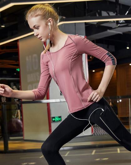 2020春款新品 女款圆领瑜伽健身跑步T恤 撞色拼接时尚显瘦
