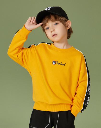一贝皇城 男童圆领套头卫衣2021春装新款中大童儿童纯棉百搭上衣潮