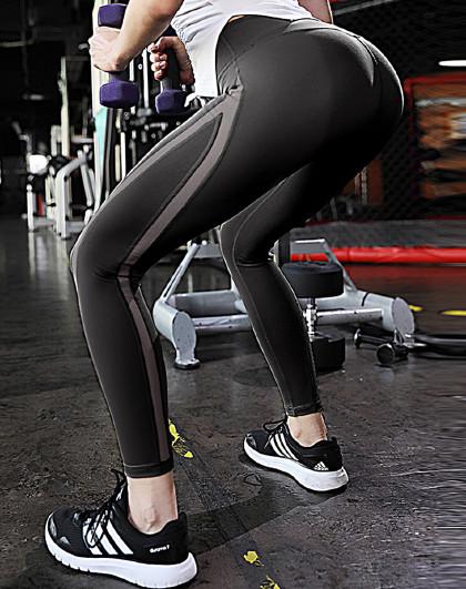 上新 女款网红款瑜伽健身跑步长裤 网纱拼接时尚美腿