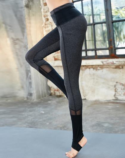 女款撞色网纱拼接运动健身跑步裤 时尚美腿