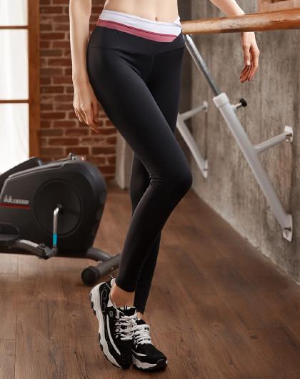 上新 女款瑜伽健身跑步裤 时尚美腰 潮流拼接