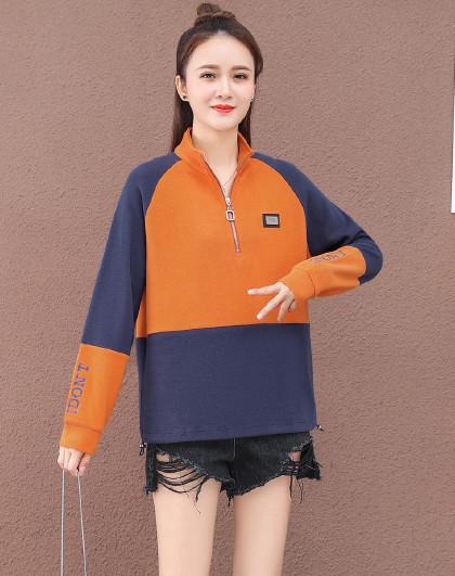 【女式卫衣】运动潮流简约时尚撞色拼接套头立领卫衣
