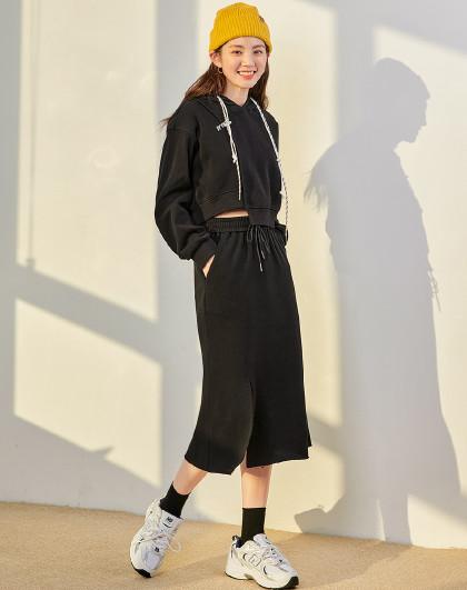 2021春季套装女装新款韩版两件套字母刺绣连帽时尚休闲套装女