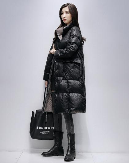 长款双面穿羽绒外套保暖护膝2021新款御寒大口袋休闲修身羽绒服女