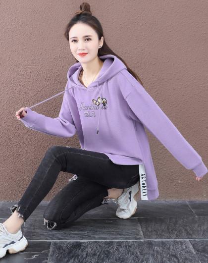 【女式卫衣】 女式运动潮流简约字母设计套头连帽卫衣
