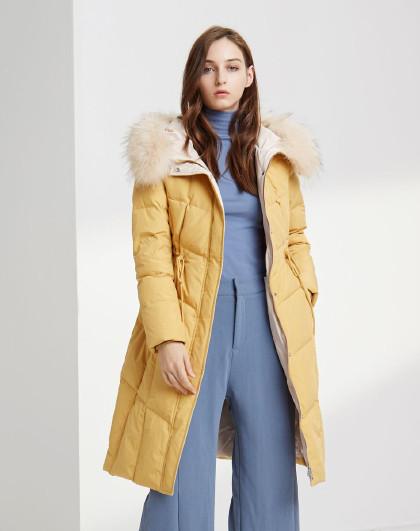 【中长款】貉子毛领中长款时尚保暖外套羽绒服女