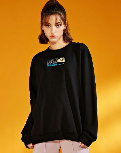 Kappa 卡帕KAPPA 情侣款蜡笔小新大logo胶印套头长袖卫衣