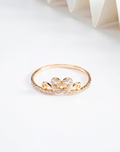 18K金戒指女王冠戒指AU750玫瑰金固圈女戒指彩金时尚尾戒