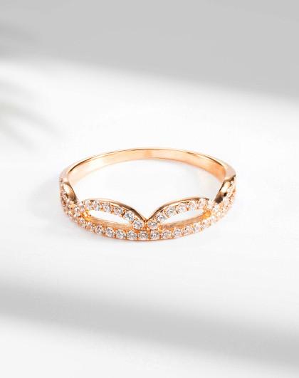 18K金戒指皇冠时尚戒指简约女戒彩金戒指