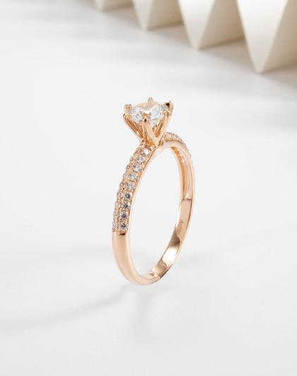 18K金戒指女星光环绕玫瑰彩金圆环时尚戒指简约女戒女友礼物