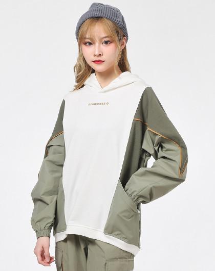 converse 女装套头衫2021新款拼接连帽休闲跑步健身卫衣