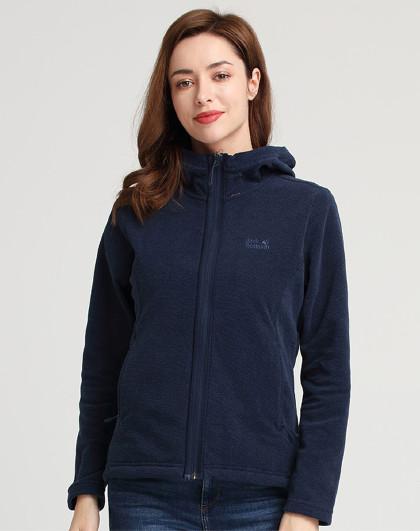 狼爪春夏新款女式夹克外套户外抓绒保暖透气格纹卫衣