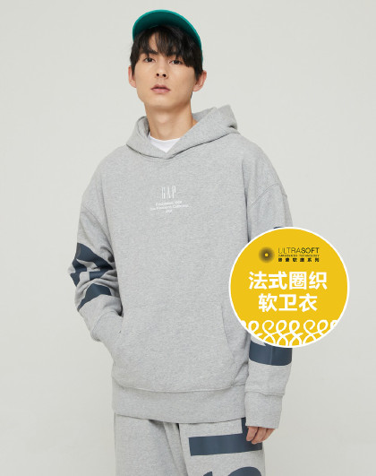 Gap男女同款logo法式圈织软卫衣2021秋冬新款潮流连帽上衣