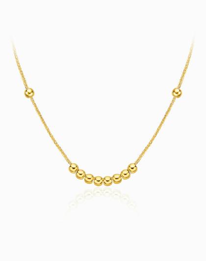 【捡漏限量200条】十全十美小金珠转运珠18K金项链素金项链