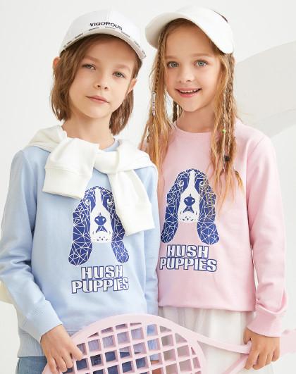 暇步士 春装新款儿童卫衣男童女童连帽全棉运动卫衣