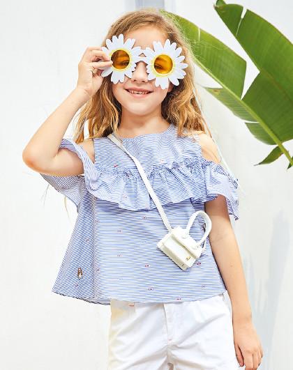 【专柜同款】暇步士童装2020新款儿童圆领衫女童T恤短袖T恤