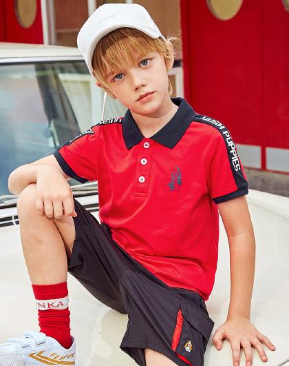 童装2020年新款儿童polo短袖衫亲子装时尚撞色拼接上衣