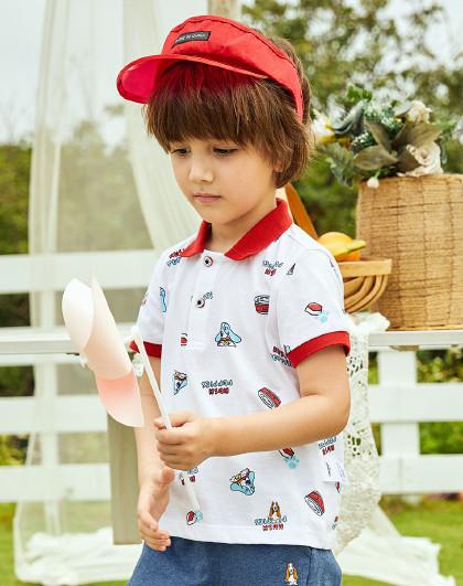 【专柜同款80-130】暇步士童装2020新款儿童POLO短袖男童T恤