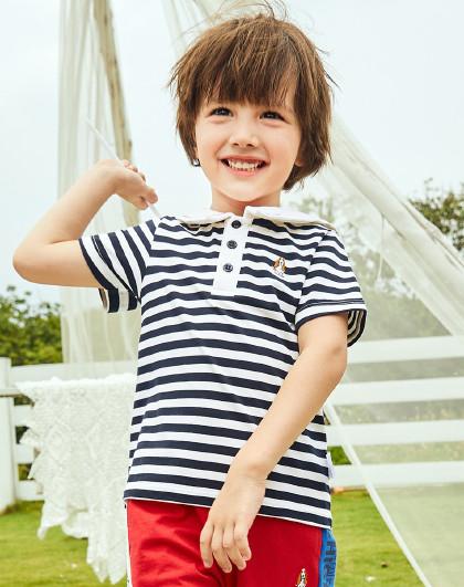 【80-130】暇步士童装2020年新款男童女童POLO衫条纹上衣