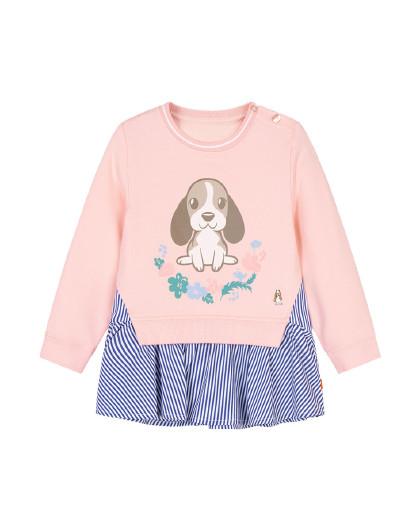 暇步士 【80-130】春装新款儿童卫衣女童卫衣裙式拼接卫衣